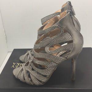 Badgley Mischka Platino Metallic Bridal  Heels